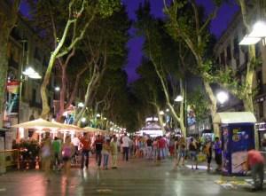 The Street of La Rambla at night,