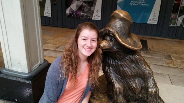 Maggie gets a kiss from Paddington Bear